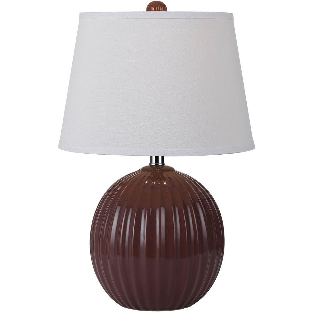 Bleeker 20.5 in. Red Ceramic Ribbed Ball Table Lamp