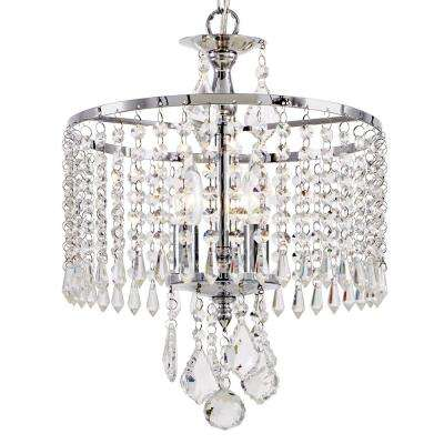 3-Light Polished Chrome Mini-Chandelier with K9 Hanging Crystals