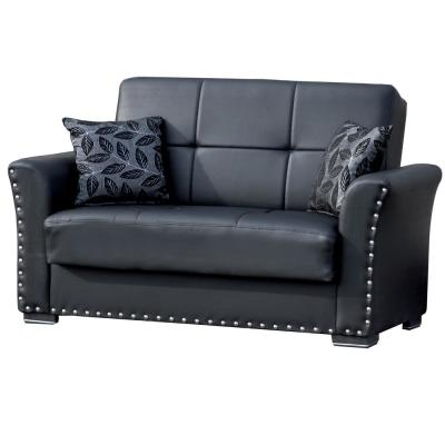 Diva Black Leatherette Upholstery Convertible Love Seat with Storage