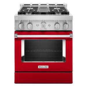 30 in. 4.1 cu. ft. Smart Commercial-Style Gas Range with Self-Cleaning and True Convection in Passion Red