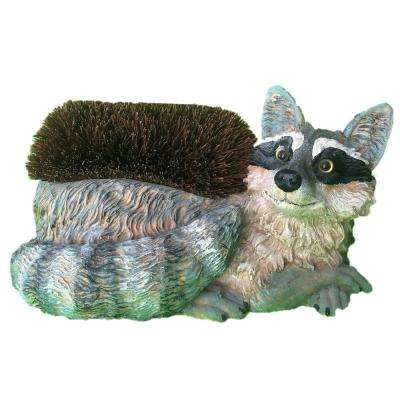 14 in. Raccoon Boot Brush with Replaceable Brush Home and Garden Statue