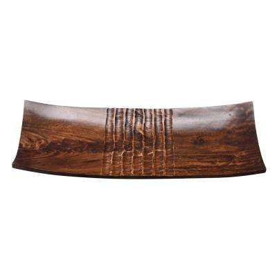 16 in. x 7 in. Brown Handmade Decorative Mango Wood Serving Tray