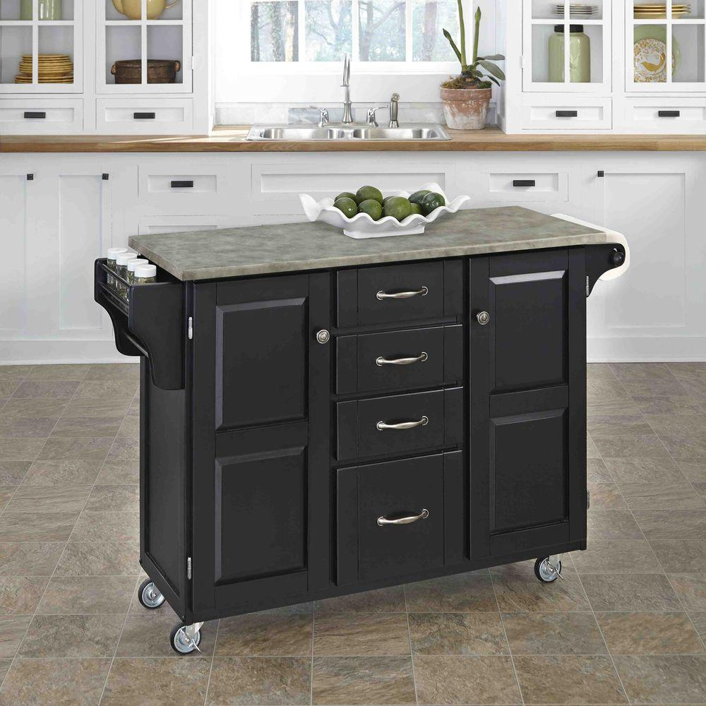Create-a-Cart Black Kitchen Cart With Concrete Top