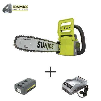 16 in. 40-Volt Brushless Cordless Chainsaw Kit with 4.0 Ah Battery + Charger