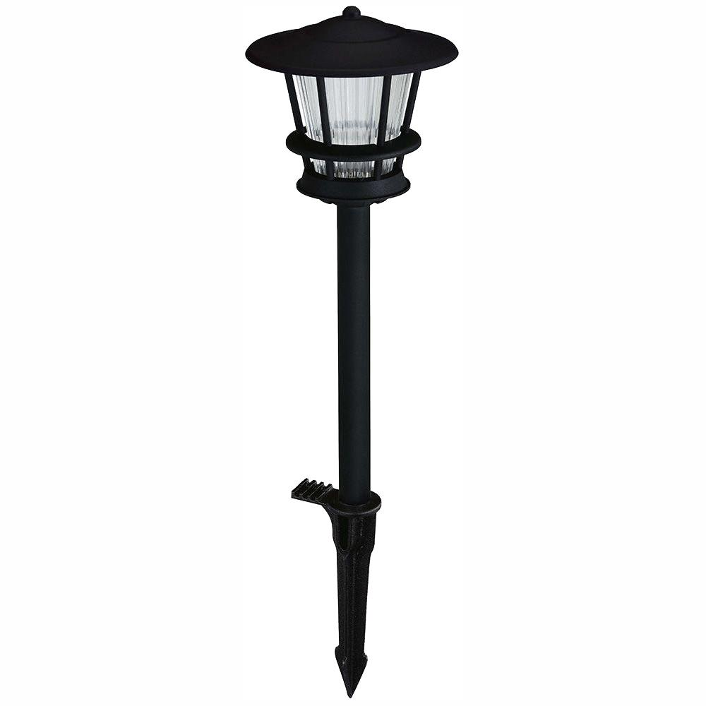hamptonbay Hampton Bay Low-Voltage Black Outdoor Integrated LED 2-Tier Landscape Path Light with Textured Glass Lens