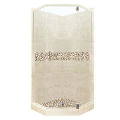 Roma Grand Hinged 32 in. x 36 in. x 80 in. Left-Cut Neo-Angle Shower Kit in Desert Sand and Satin Nickel Hardware