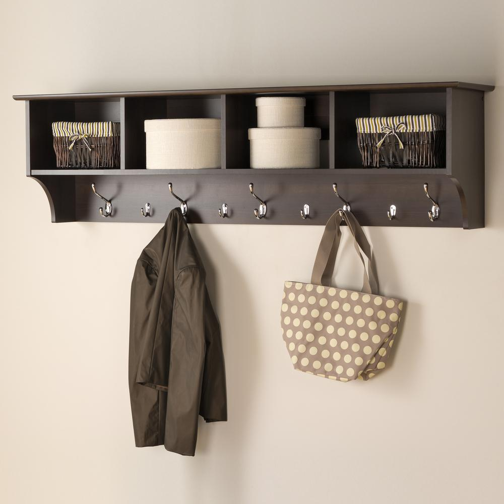Prepac 60 in. Wall-Mounted Coat Rack in Espresso-EEC-6016 - The ...