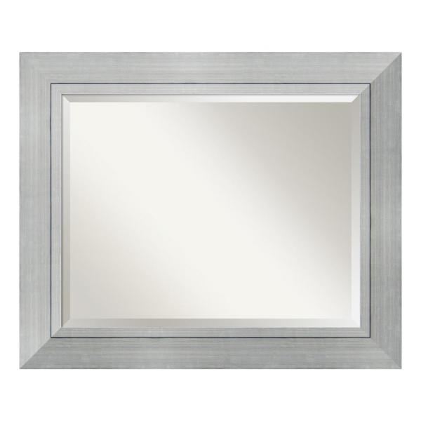 Medium Rectangle Burnished Silver Beveled Glass Modern Mirror (29.25 in. H x 35.25 in. W)