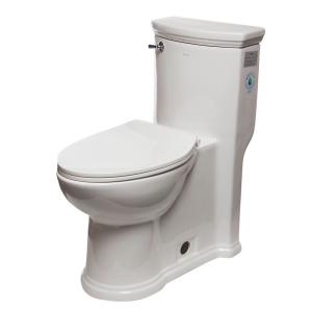 EAGO ADA Compliant 1-Piece 1.28 GPF Single Flush Elongated Toilet in White by EAGO
