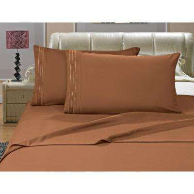 1500 Series 4-Piece Light Brown Triple Marrow Embroidered Pillowcases Microfiber Queen Size Bed Sheet Set