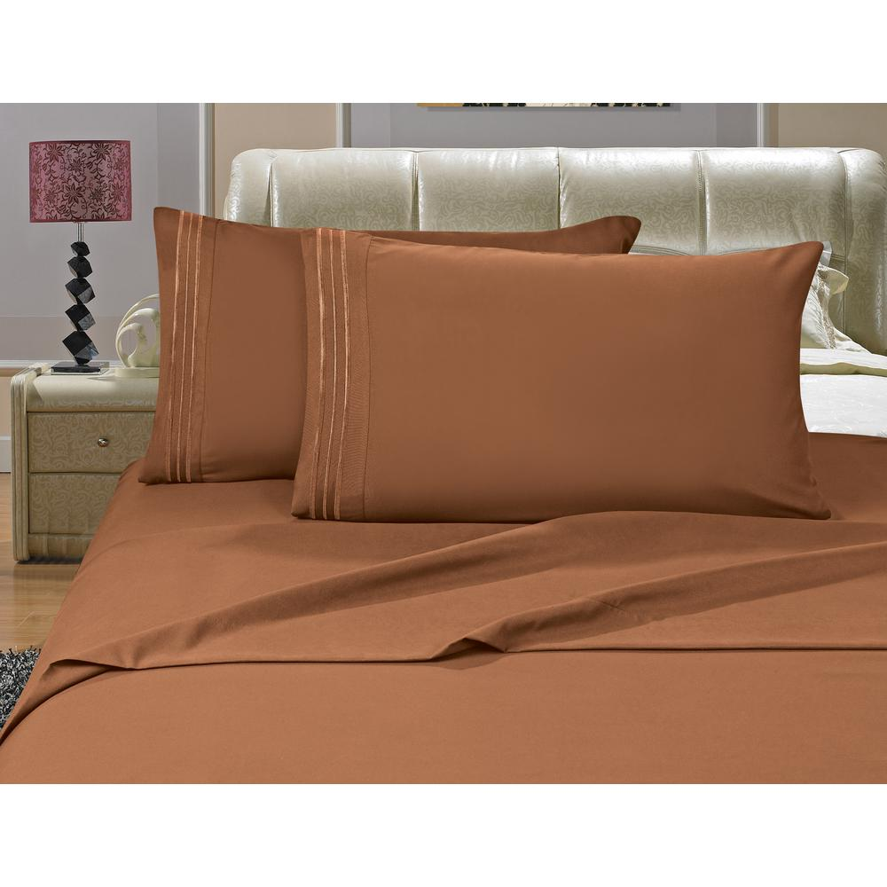1500 Series 4-Piece Bronze Triple Marrow Embroidered Pillowcases Microfiber