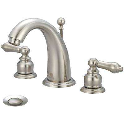 Brentwood 8 in. Widespread 2-Handle Bathroom Faucet with Drain in Brushed Nickel