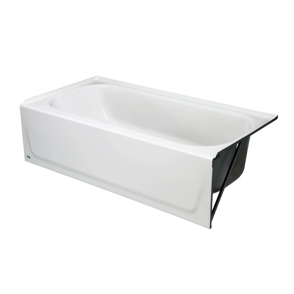 Maui 60 In. Right Drain Rectangular Alcove Soaking Bathtub In White