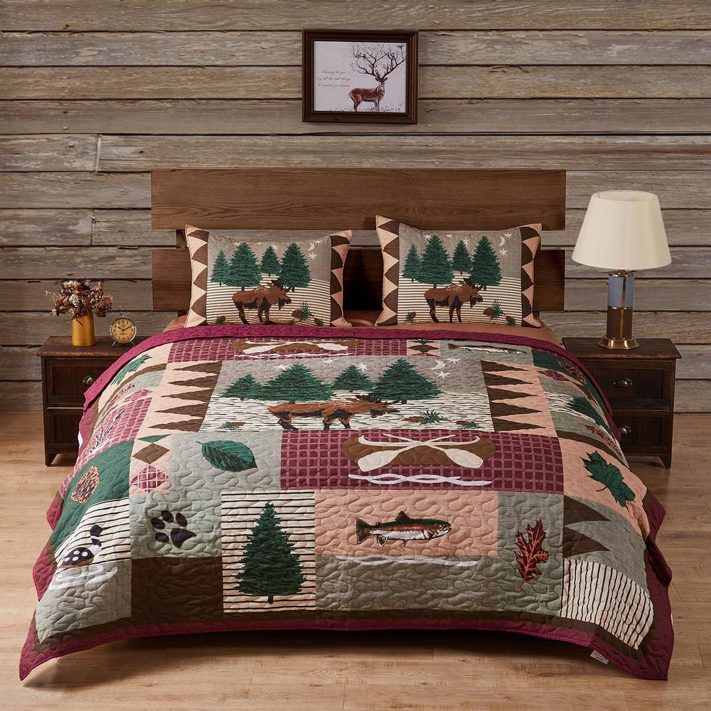 Moose Lodge 3-Piece Multicolored Full/Queen Quilt Set