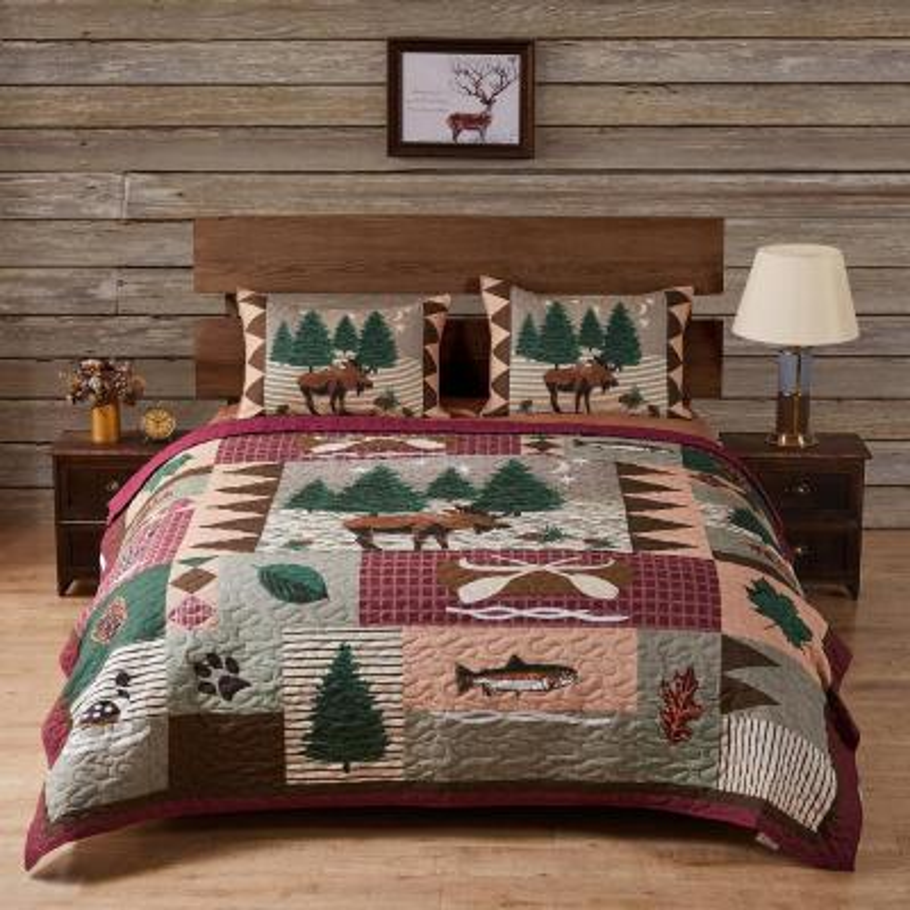 Moose Lodge 3-Piece Multicolored King Quilt Set