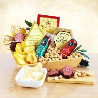 Meat and Cheese Wooden Gift Crate