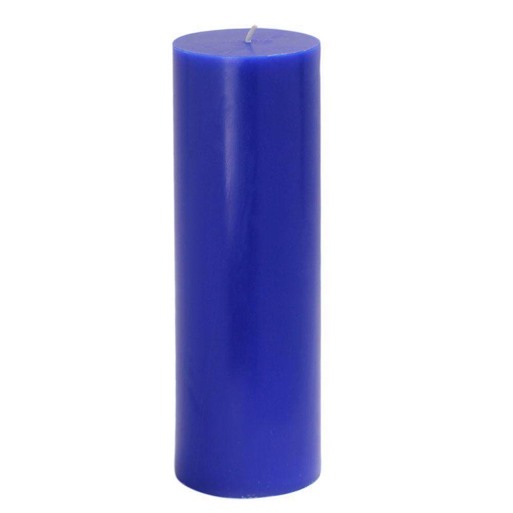 3 in. x 9 in. Blue Pillar Candles Bulk (12-Case)