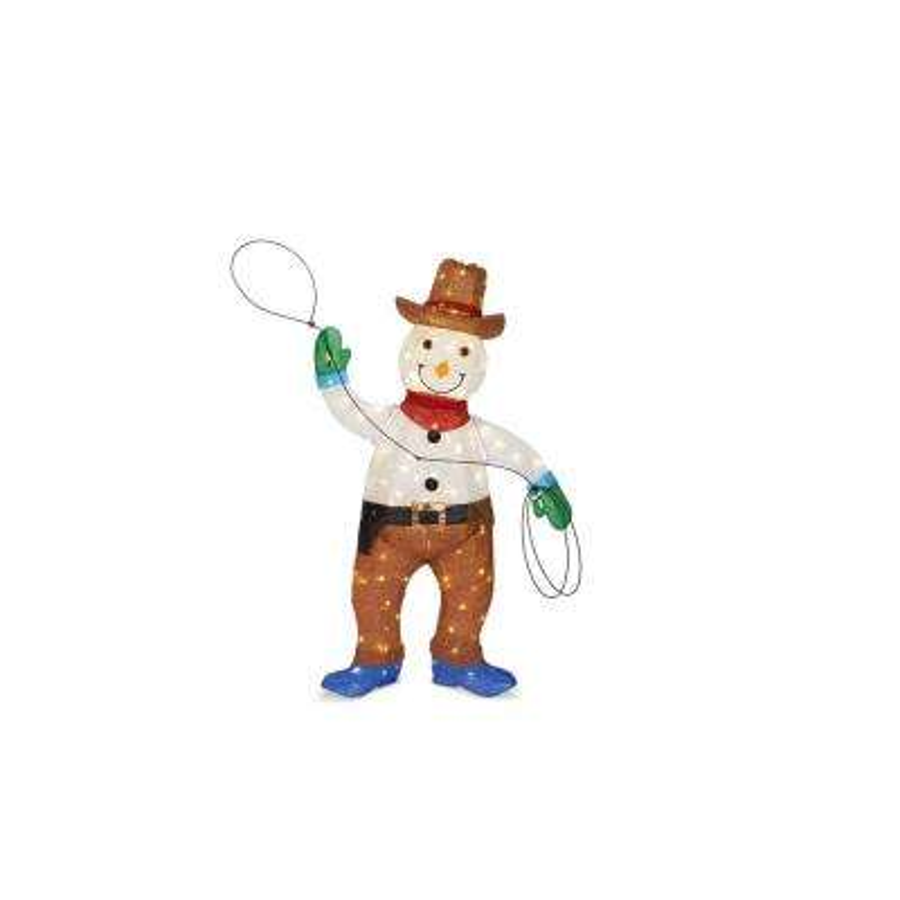 Pre-Lit Tinsel Cowboy Snowman - Christmas Yard Decorations Outdoor