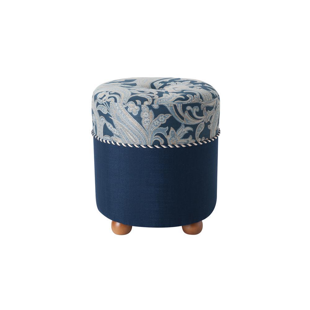 Mona Midnight Blue Traditional Ottoman