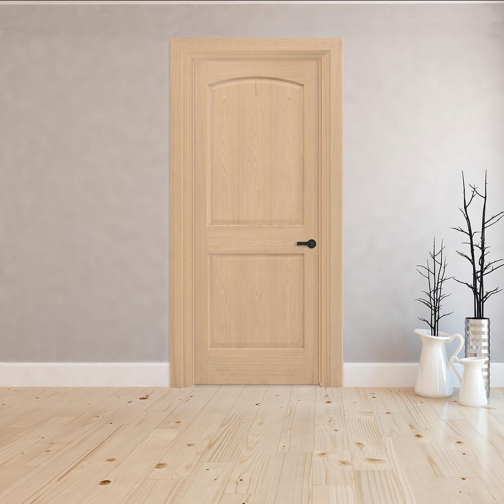 2-Panel Arch Solid Core Oak Interior Door Slab