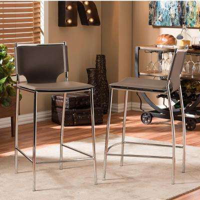 Montclare Taupe Faux Leather Upholstered 2-Piece Counter Stool Set