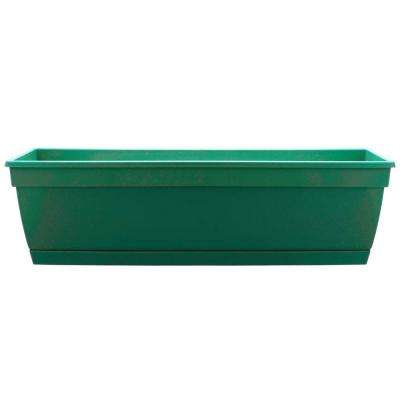 Newbury 7.88 in. x 36 in. Cadmium Green Plastic Poly Window Box with Saucer