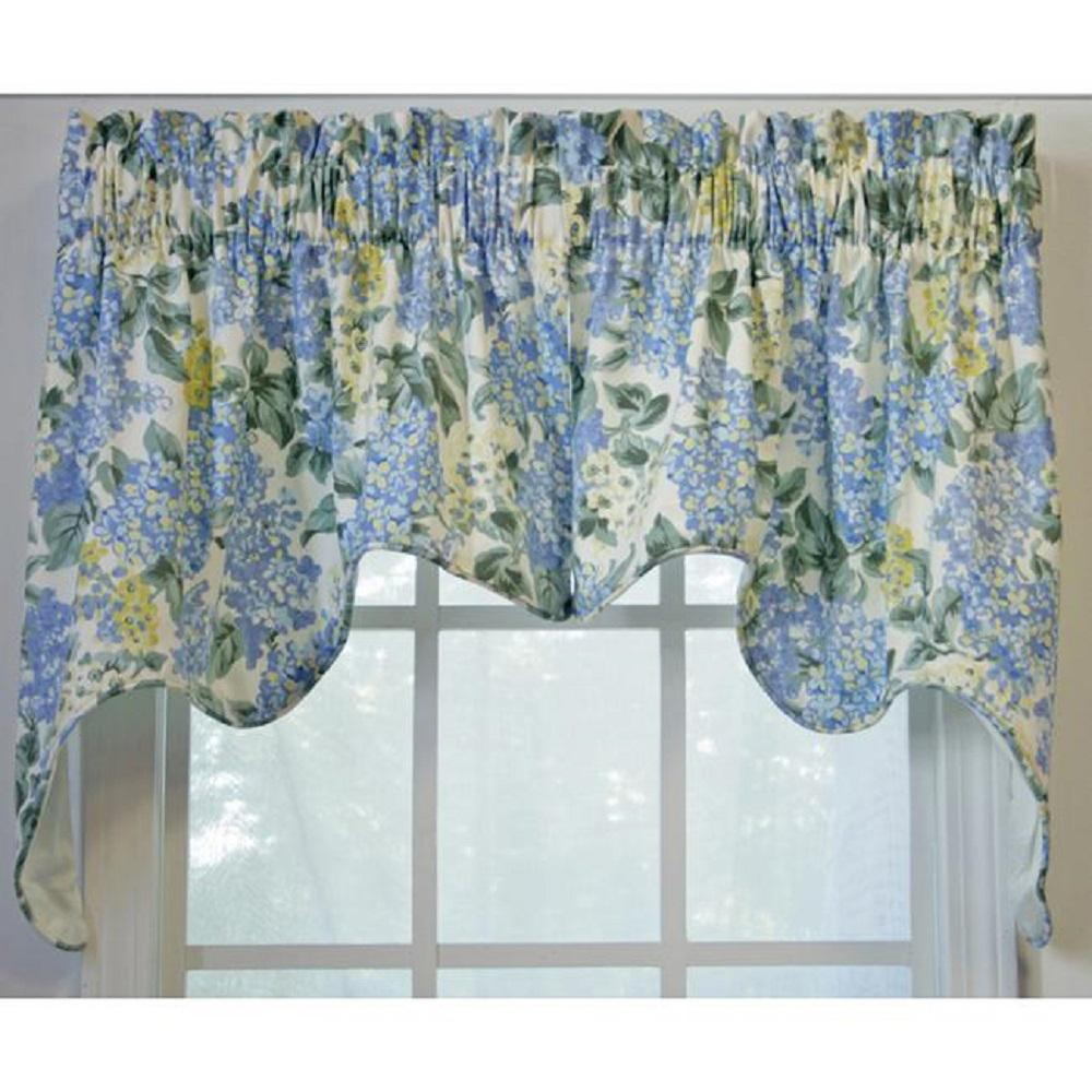 Ellis Curtain Hydrangea 28 In L Cotton Lined Empress Swag In Blue 2 Piece 730462567550 The Home Depot