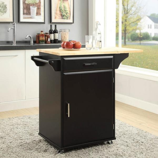 USL Townville Black Small Kitchen Cart with Drop Leaf