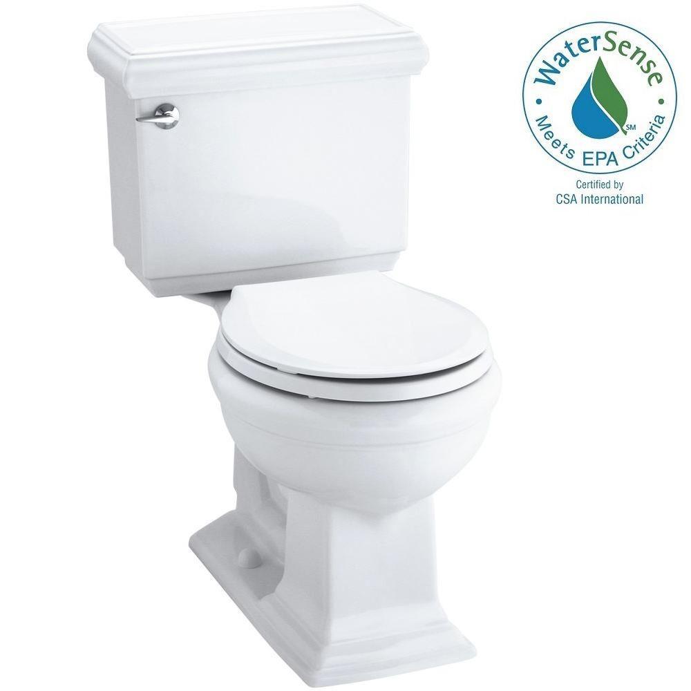KOHLER Memoirs Classic 2-piece 1.28 GPF Round Toilet with AquaPiston Flushing Technology in White