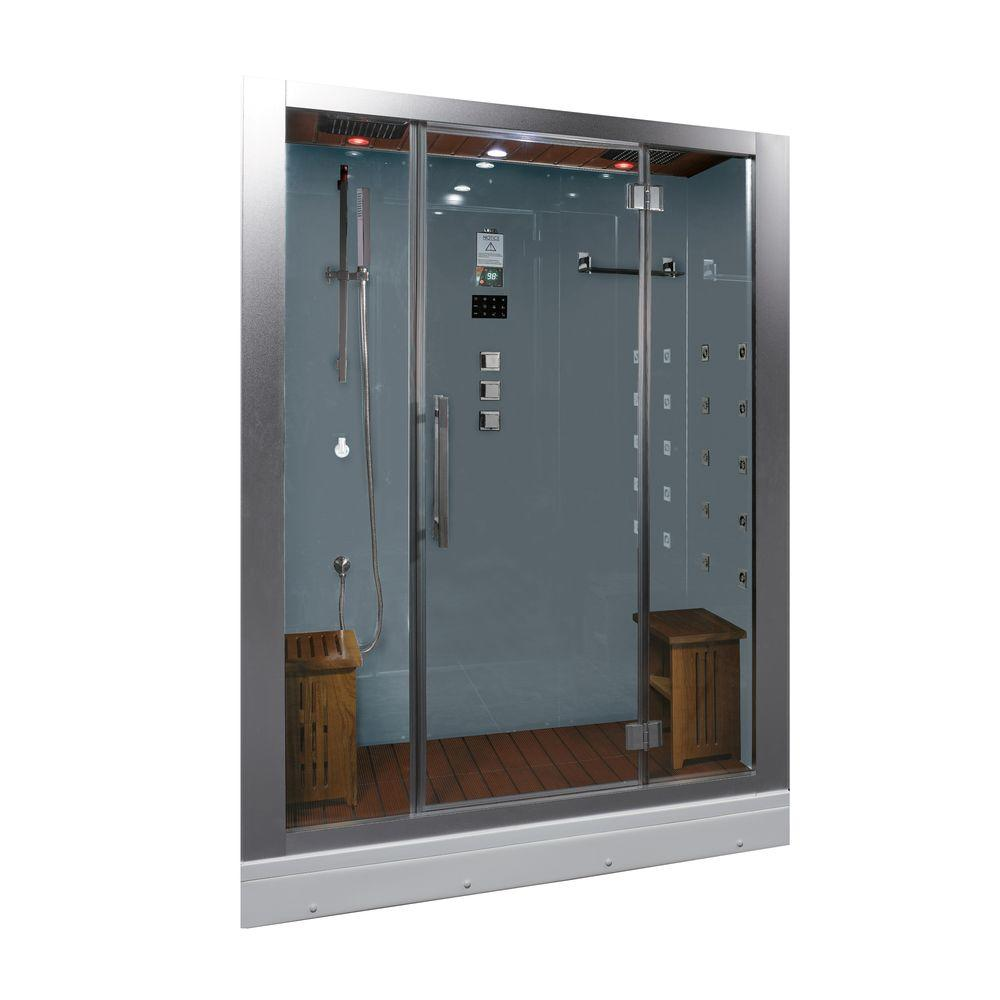Ariel 59 in. x 32 in. x 87.4 in. Steam Shower Enclosure Kit in White ...