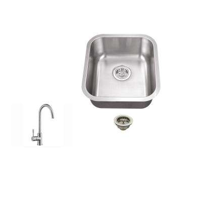 Undermount 16 in. 18-Gauge Stainless Steel Bar Sink in Brushed Stainless with Gooseneck Kitchen Faucet