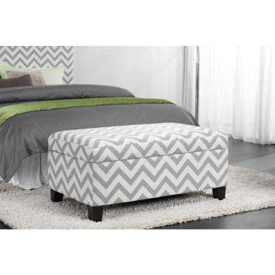 Chevron Gray/White Storage Ottoman