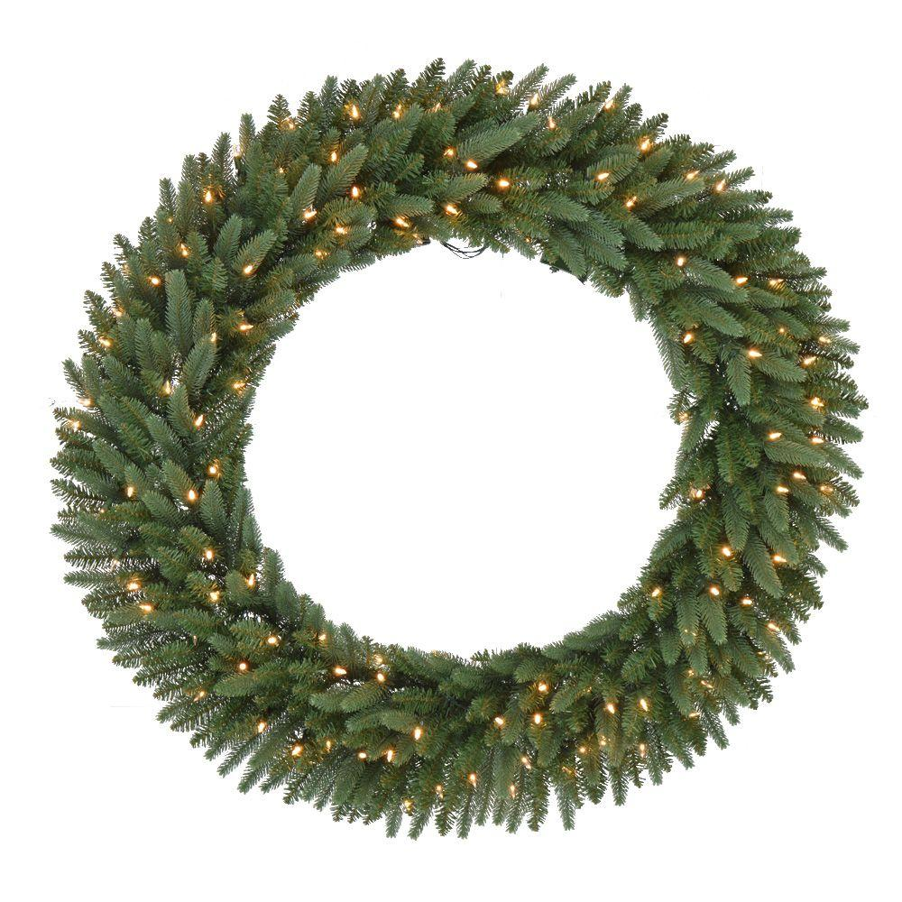 48 In Pre Lit B O LED New Meadow Artificial Christmas Wreath X  - Christmas Wreath Lights