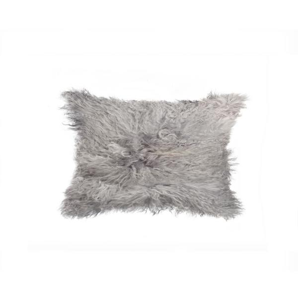 Mongolian Sheepskin Black Solid 12 in. x 20 in. Throw Pillow