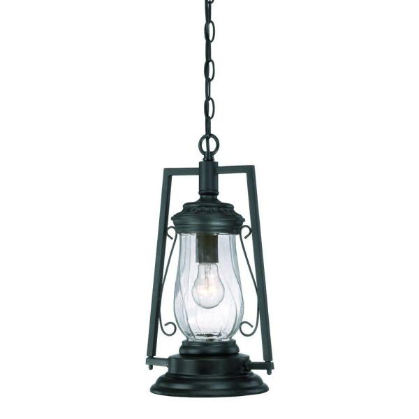 Kero Collection 1-Light Matte Black Outdoor Hanging Lantern Light Fixture