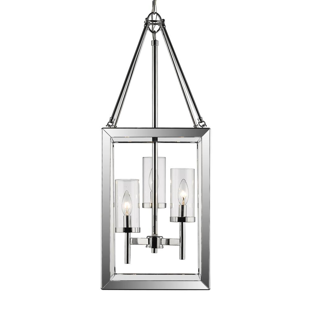 Golden Lighting Smyth CH 3-Light Chrome Pendant with Clear Glass