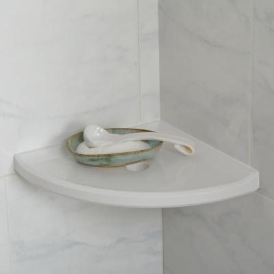 Restore 8 in. x 8 in. x 1 in. Resin Wall Mount Corner Shelf in Bright White