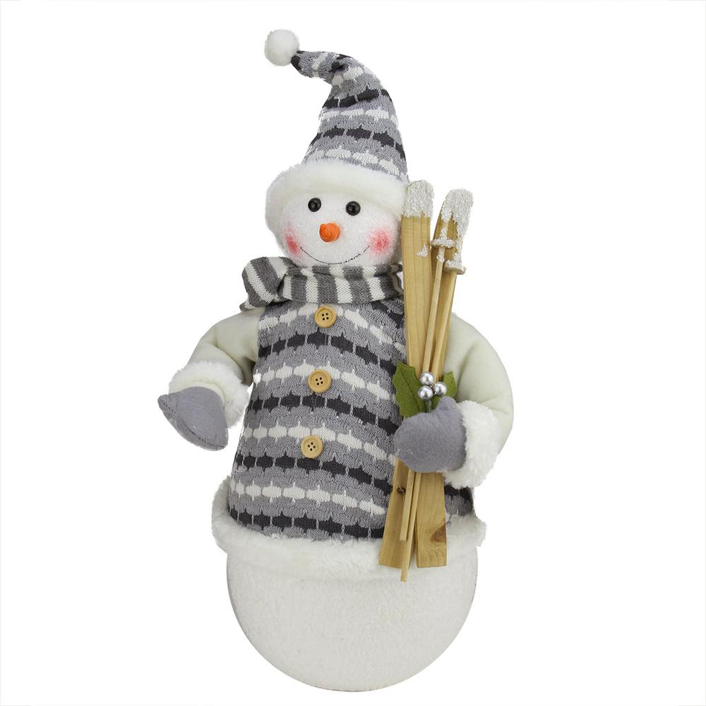 352c11041537a 20 in. Alpine Chic Snowman with Gray and White Jacket Christmas Decoration-31730678  - The Home Depot