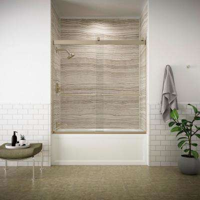 Levity 59.625 in. W x 59.75 in. H Semi-Frameless Sliding Tub Door in Bronze with Handle and Clear Glass