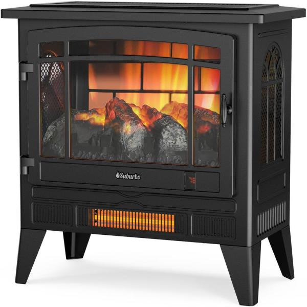 Suburbs TS25 Electric Fireplace Infrared Space Heater with Adjustable Flame Effects, Timer, Remote Control