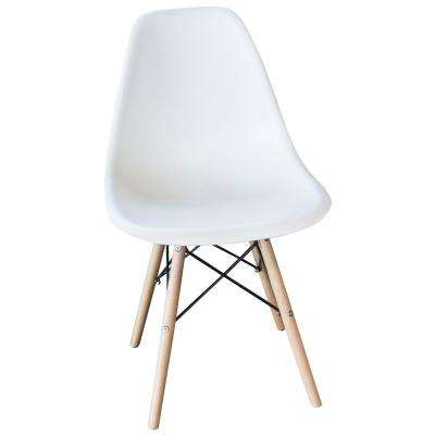 Retro Classic Style Scoop Seat Chairs with Wooden Legs in White (Set of 4)