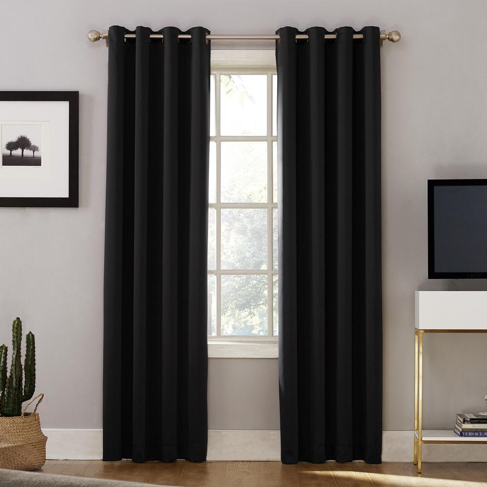 Sun Zero Oslo Woven Home Theater Grade Blackout Black Grommet Single Curtain Panel - 52 in. W x 95 in. L