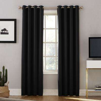 Oslo Woven Home Theater Grade Blackout Black Grommet Single Curtain Panel - 52 in. W x 84 in. L