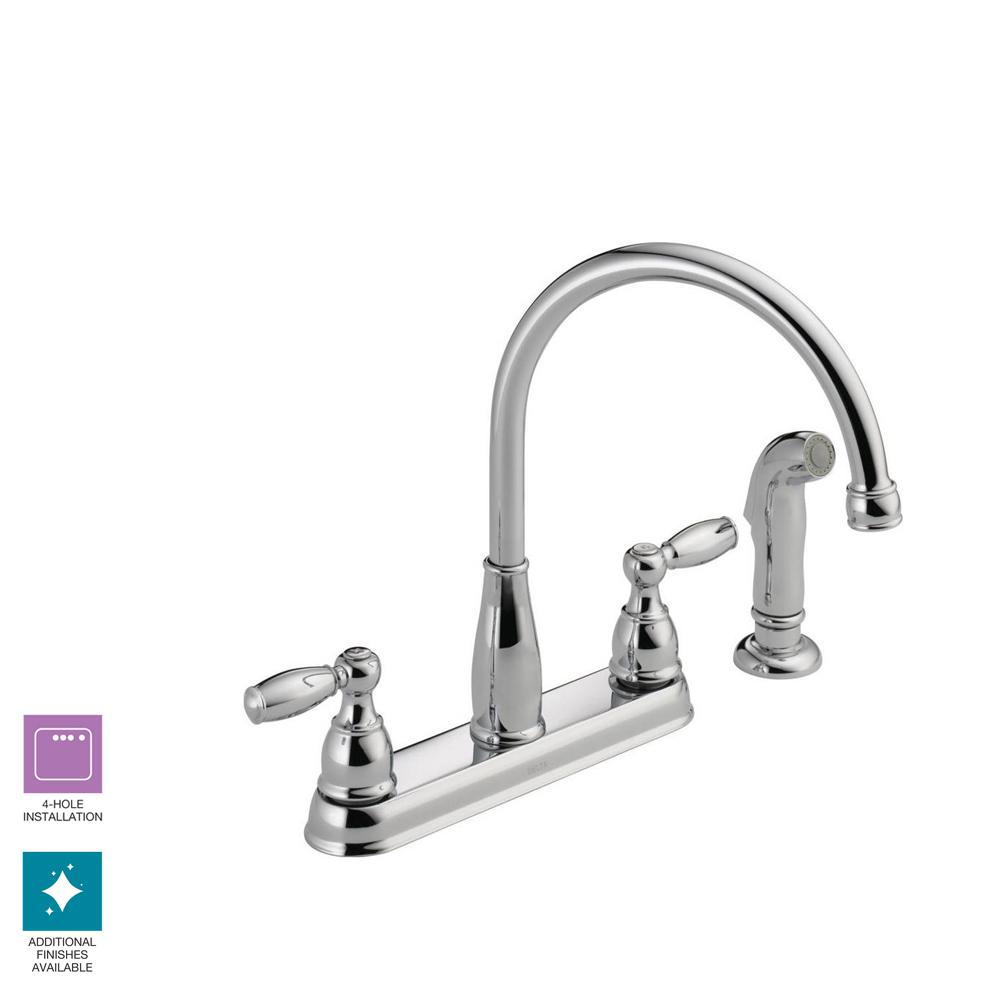 Delta Foundations 2 Handle Standard Kitchen Faucet With Side Sprayer