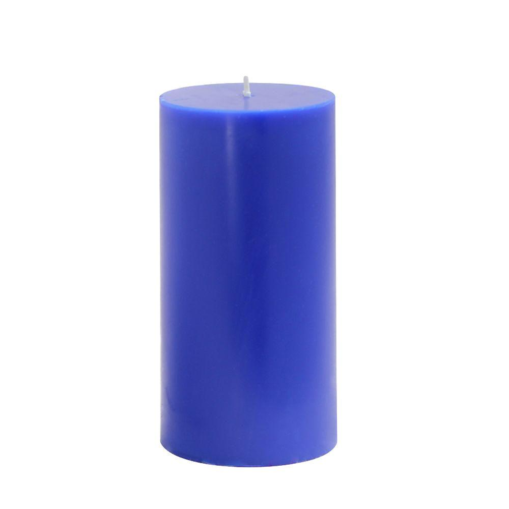 Zest Candle 3 in. x 6 in. Blue Pillar Candles Bulk (12-Case)-DISCONTINUED