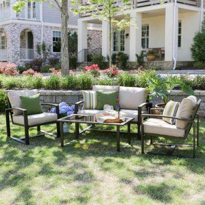 Jasper 4-Piece Aluminum Patio Conversation Set with Tan Cushions