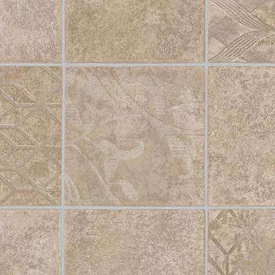 Marbella Tile Neutral 13.2 ft. Wide x Your Choice Length Residential Vinyl Sheet Flooring