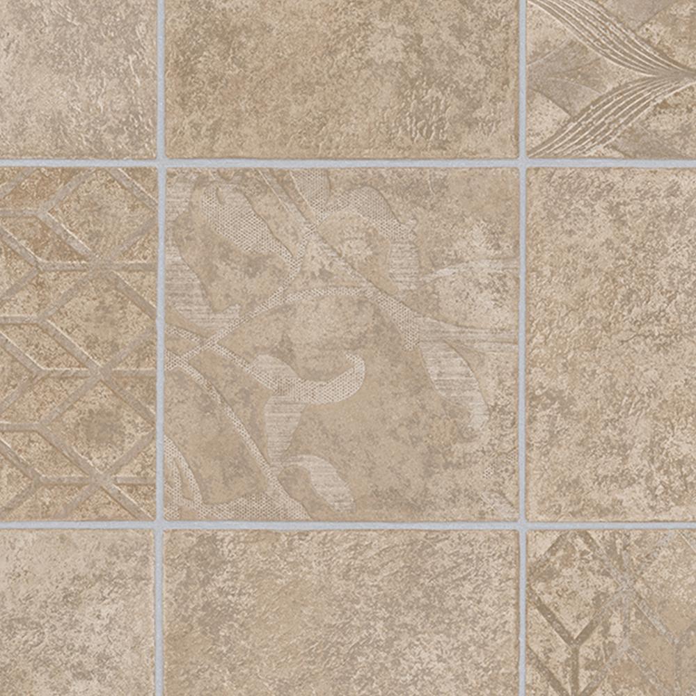 Marbella Tile Neutral 13.2 ft. Wide x Your Choice Length Residential Vinyl Sheet Flooring