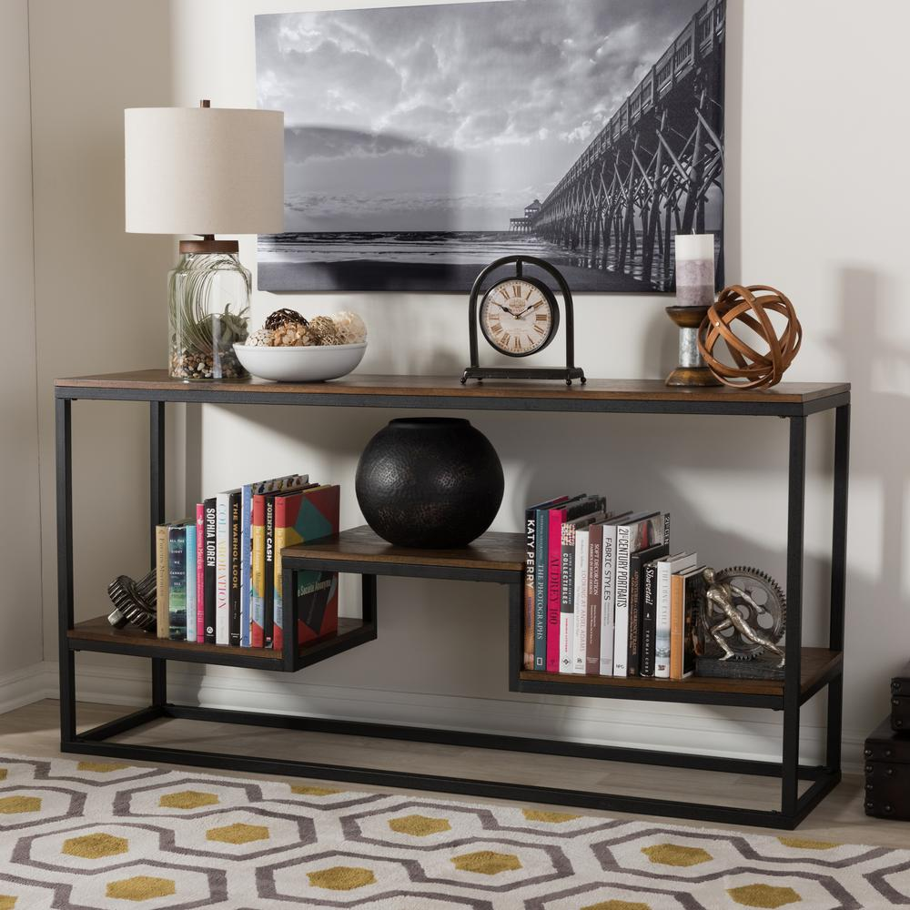 Baxton Studio Doreen Vintage Industrial Medium Brown Wood Console Table