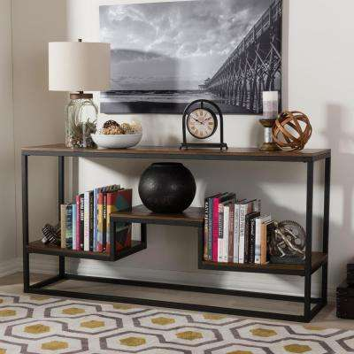 Doreen Vintage Industrial Medium Brown Wood Console Table